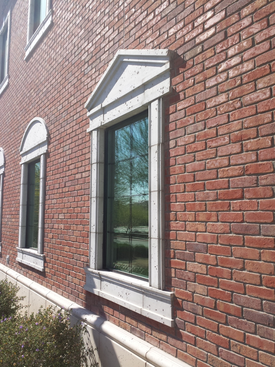 AAS Architectural GFRC Integrates Well with Brick Veneer | It Requires Less Depth Compared to Other Materials such Cast Stone or Precast Concrete