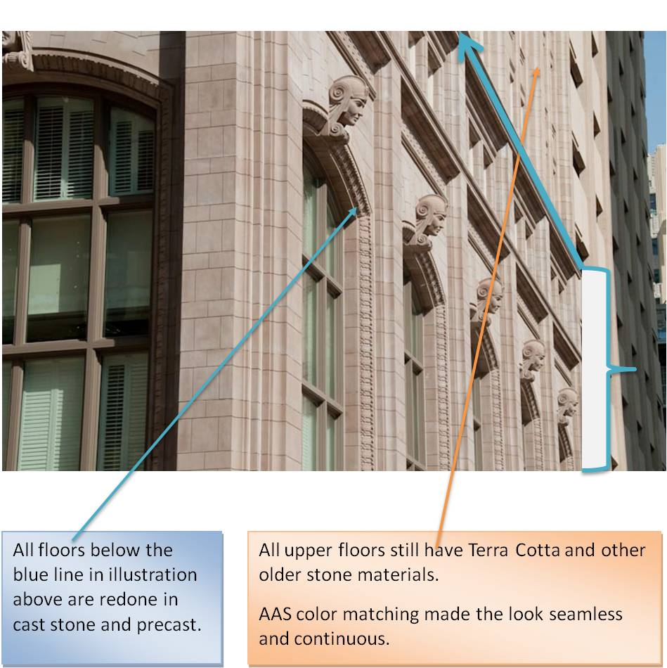 AAS Cast Stone Color Matching with Teraacota | 714 Main Street Building - Consistency, Precision, Quality Control