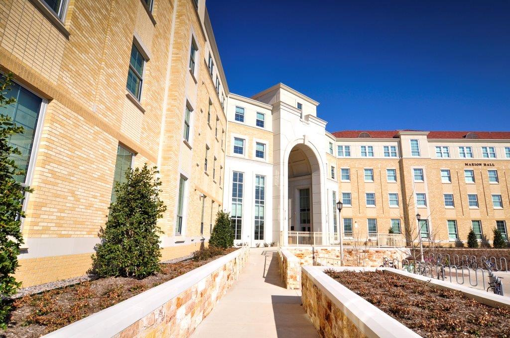 TCU_Worth Hills | Customized Pink Colors | The Entire Exterior of the Building is Created using Cast Stone except for the Brick Work