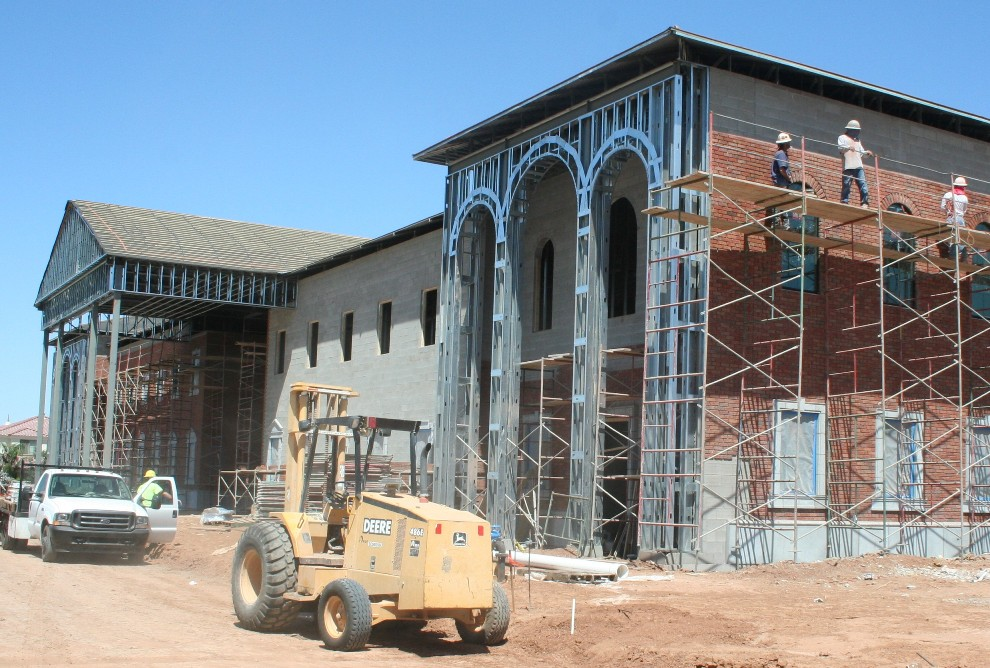 Architectural GFRC Installation at Gilbert Christian School | Light Weight Metal Studs Frame Supported GFRC Panels Effectively