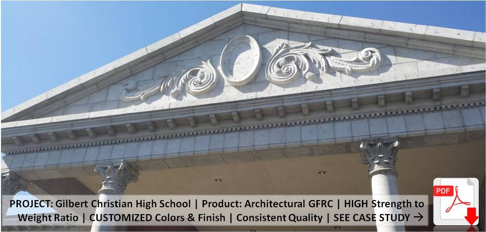 AAS (Formerly ACS) | Gilbert Christian Highschool | Product: Architectural GFRC (Light Weight Concrete) | Architect: L. Smith - H & S International LLC. | Contractor: A. R. Mays