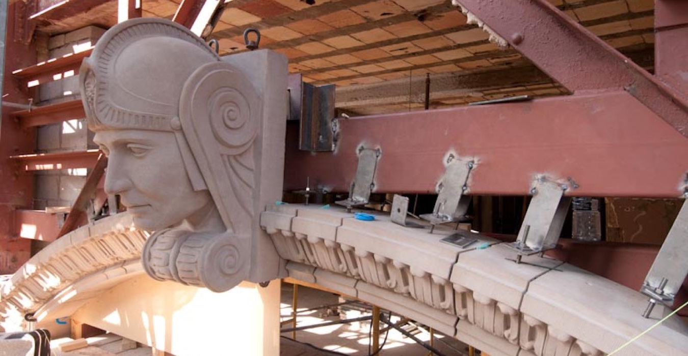 AAS Custom Mold Making | Roman Head Design in Cast Stone for 714 Main Street Building, Dallas, TX | Cast Stone Cladding