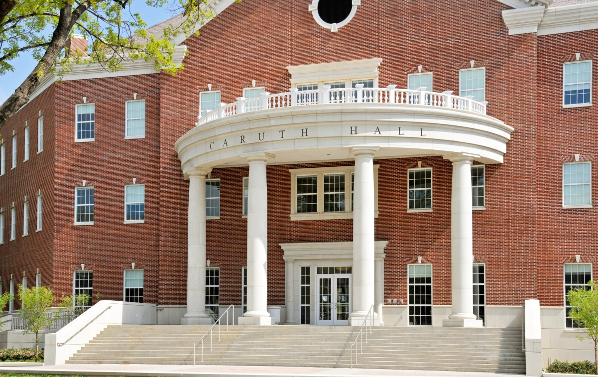 SMU Caruth Hall Architectural Stone Cladding | Cast Stone and Wet-precast Products Combined for Desired Design Accent | Large Column Porches and Entries, Design of Eaves, Window Surround Trim | Modular Columns Design