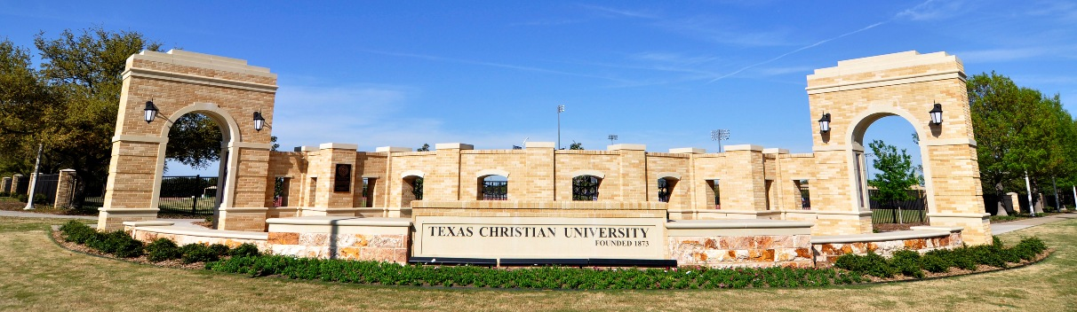 Texas Christian University (TCU) Entry Gate - Design Unification with Custom Wall Caps, Custom Signage, Entry Way Cladding