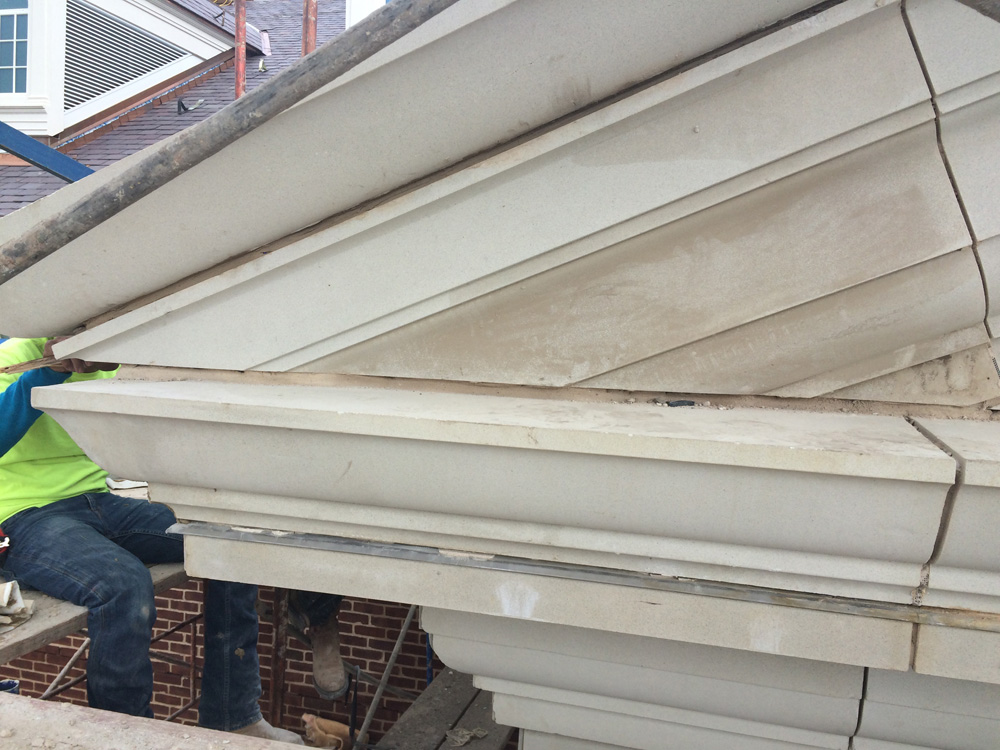 Cornice design using manufactured architectural cast stone pieces | casting (dry or wet) with precision allows complex stone pieces to fit with required accuracy and precision