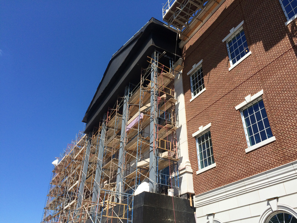 Installation of Dry-cast Architectural Cast Stone at Higher Elevation - Structural Support during Installation
