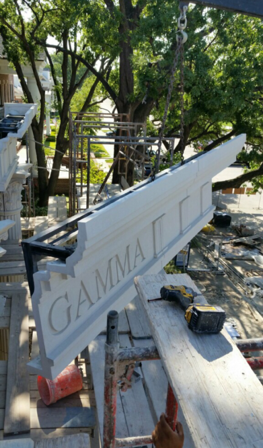 Custom Signage on the Cornices is Designed into Manufactured GFRC Stone Pieces | Easy Handling of Large Size GFRC Pieces at the Construction Site