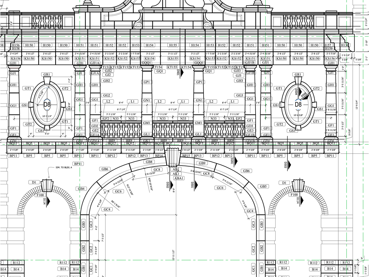 AAS Manufacturing, Planning, Construction Support for Contractors, Masons | South Elevation Drawing for Old Parkland Building