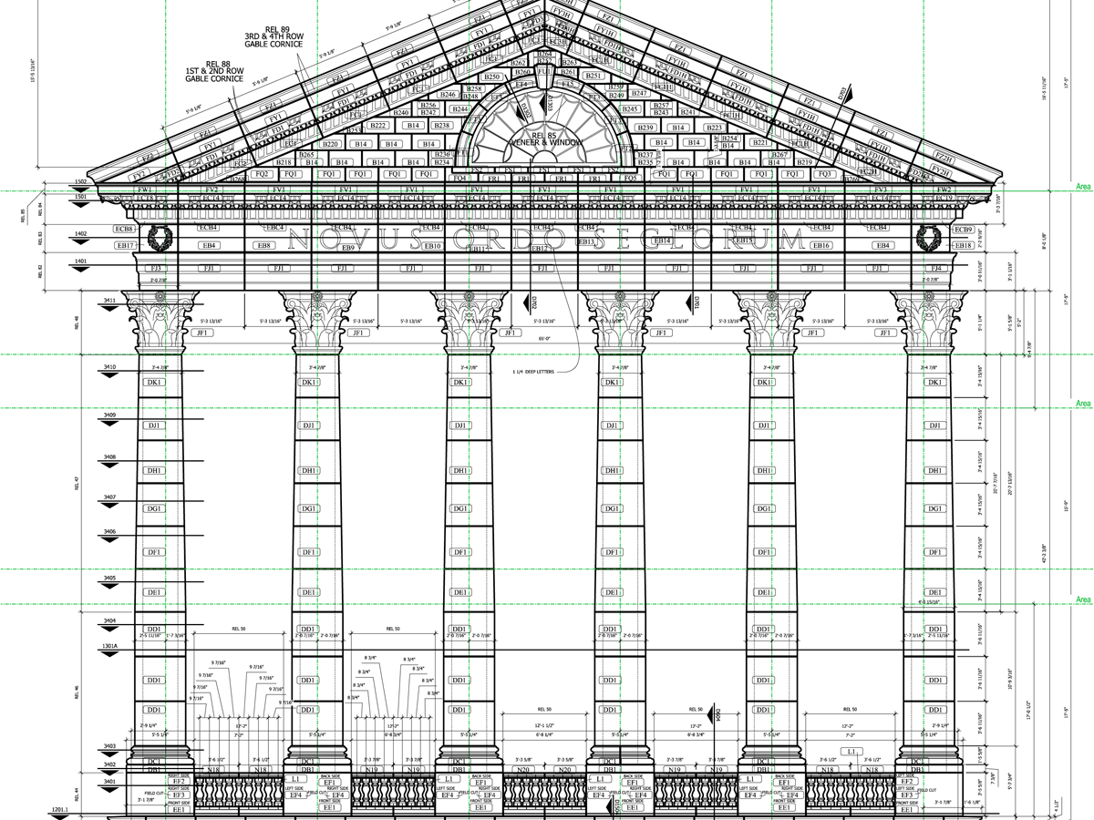 AAS Engineering, Manufacturing System for Supporting Contractors, Masons | Elevation Drawing for West Side | Each Stone piece is Uniquely Identified | Delivery to Construction site is Coordinated for Simpler Installation, Project Management