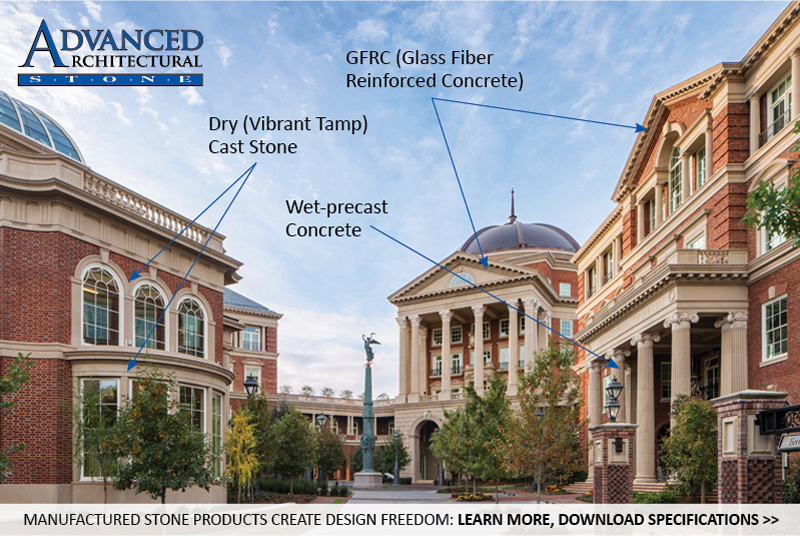 AAS Products: Dry Vibrant-tamp Cast Stone, Precast Concrete, GFRC (Glass Fiber Reinforced Concrete)   Value Engineering - Ask us about combining different products for optimum cost, simpler construction, and seamless design using architectural stone