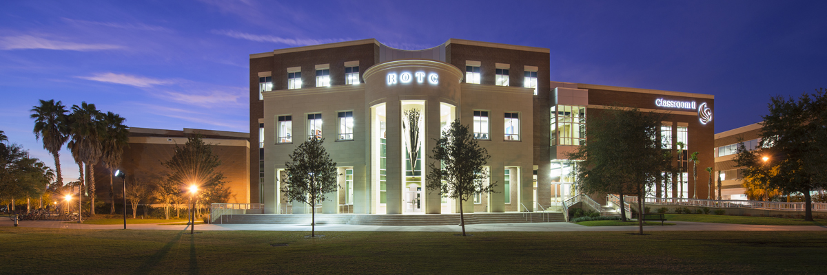 Project: UCF ROTC Building | Concrete Stone Panels Created Exterior Veneer, Entryway Elevation Cladding