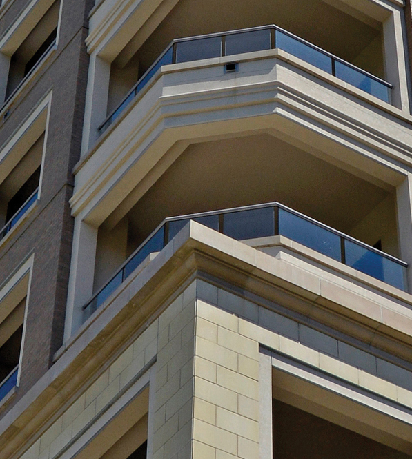 Stoneleight Residential Tower | Dry Vibrant-tamp Cast Stone for Rain-screen, Veneer, Cladding at Lower Levels of the Residential Tower Elevation