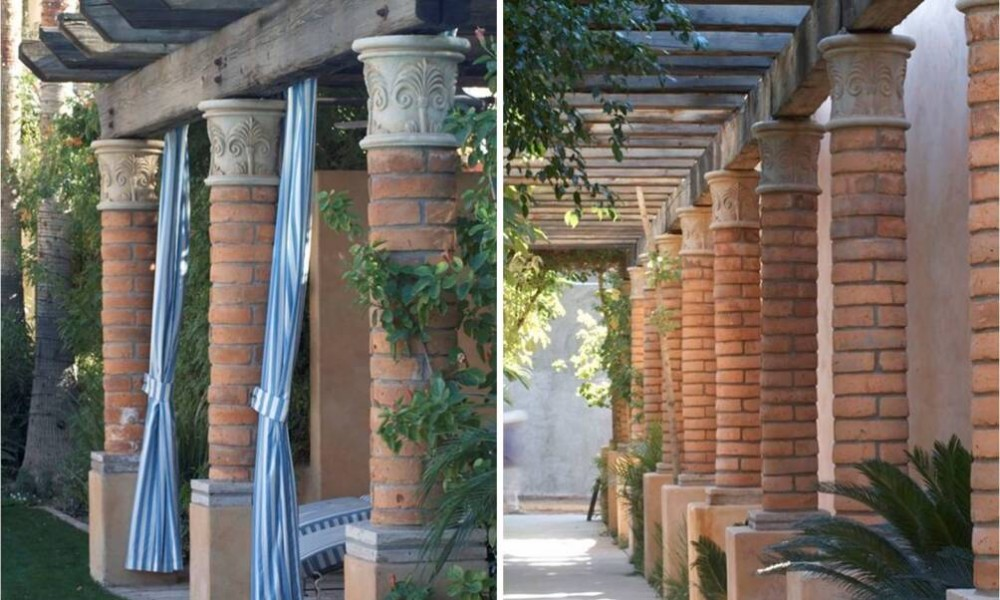 Custom Design Column Capitals and Base with Brick Design | Home and Office Decor Hardscape Design
