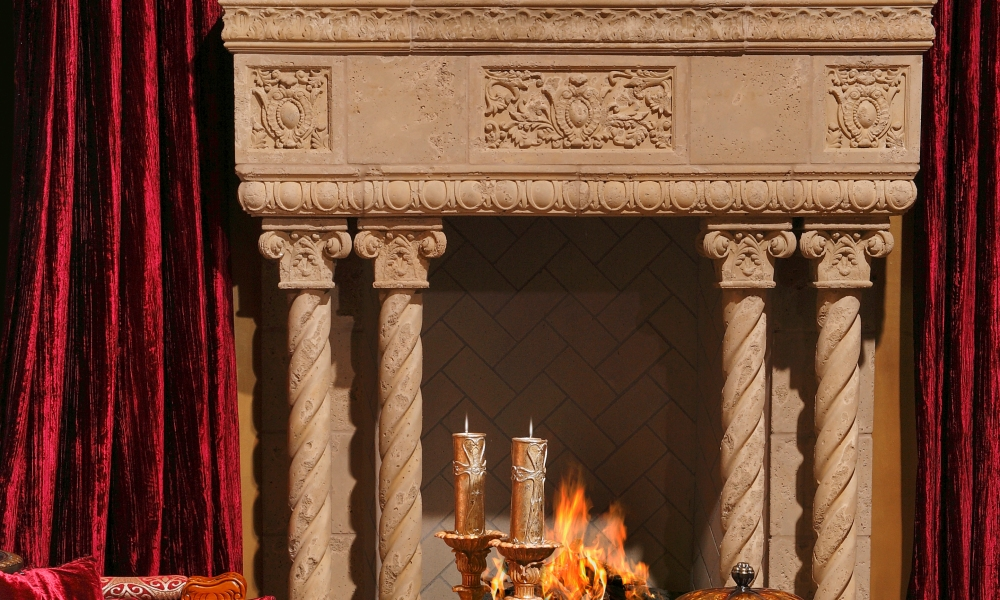 Fireplace Design with Custom Ornamental Elements, Columns