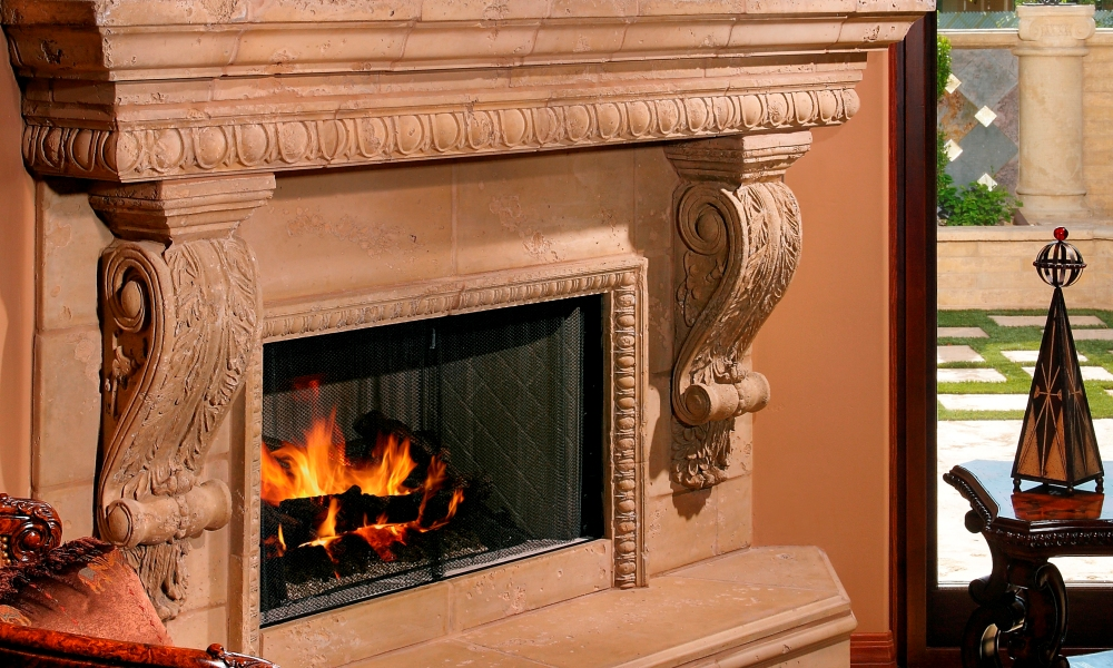 Fireplace with Custom Color, Distressed Finish | Corbels, Egg and Dart Trims
