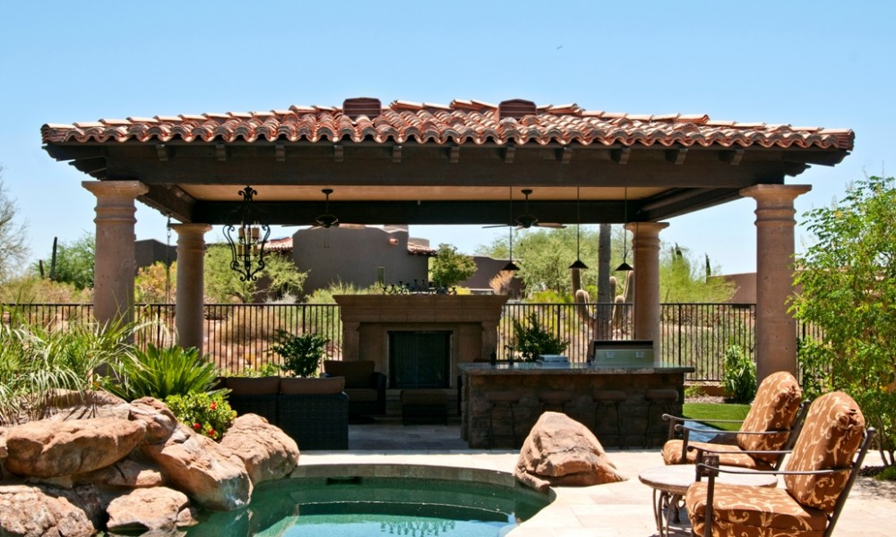 Exterior Landscaping, Stone Hardscaping   Color Matched Coping, Columns, Fireplace for Uniform Design Accent