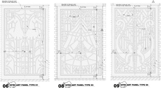 GFRC Art Panels for Art Deco Design Accent at Dickies Arena, Fort Worth