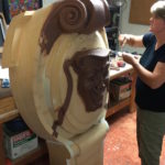 Hand Carving in Clay on Top of Custom Design Wooden Piece to Match Architects Rendering for Keystone