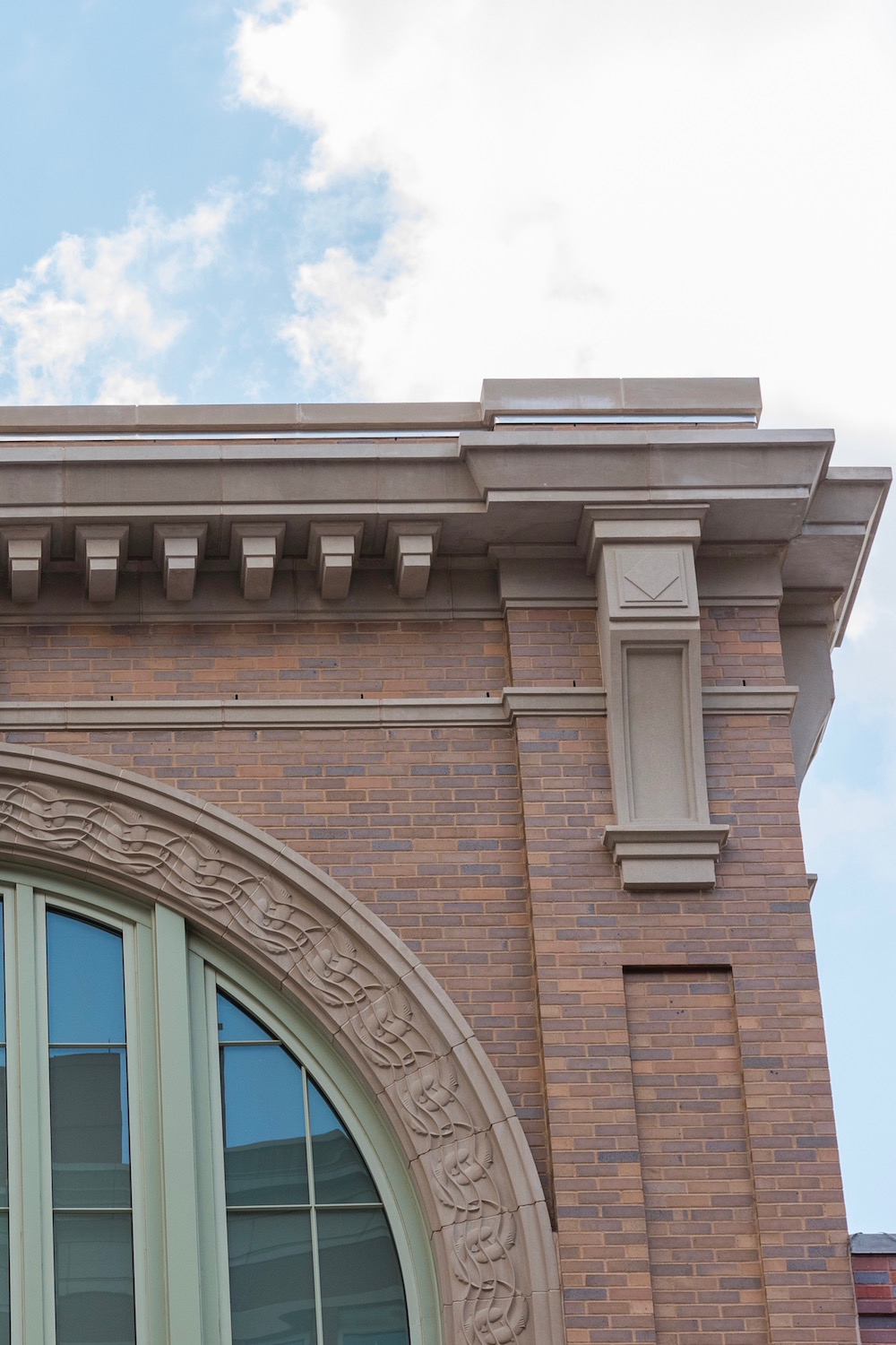 Retail, Entertainment Building Design Accent using Cast Stone, GFRC