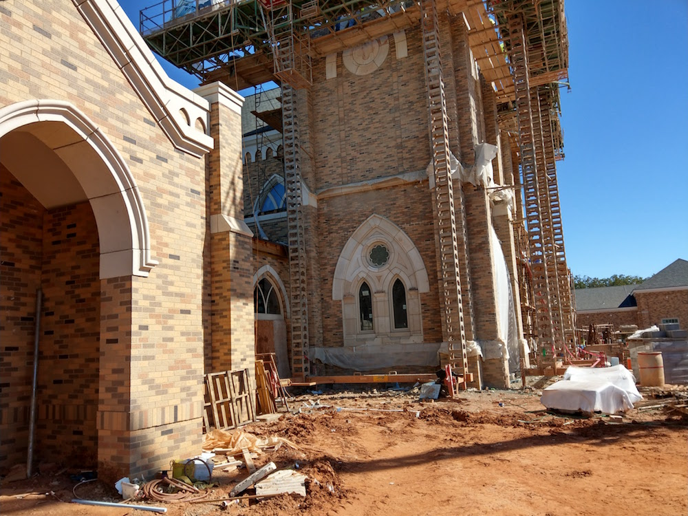 St Francis Xavier Catholic Church - dry vibrant-tamp cast stone, wet-pour precast, GFRC - stone cladding, cornices, banding, coping, architectural trims