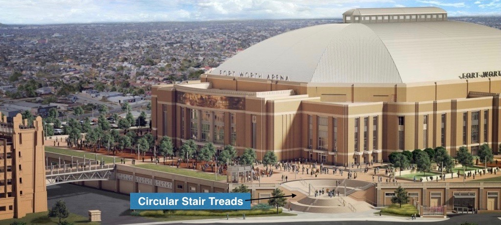 Ft Worth Arena Project | Concentric Circles of Stair Treads Achieved using Wet-pour Architectural Precast Concrete