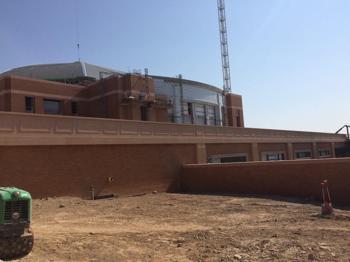 Cast stone cladding for Ft Worth Arena building