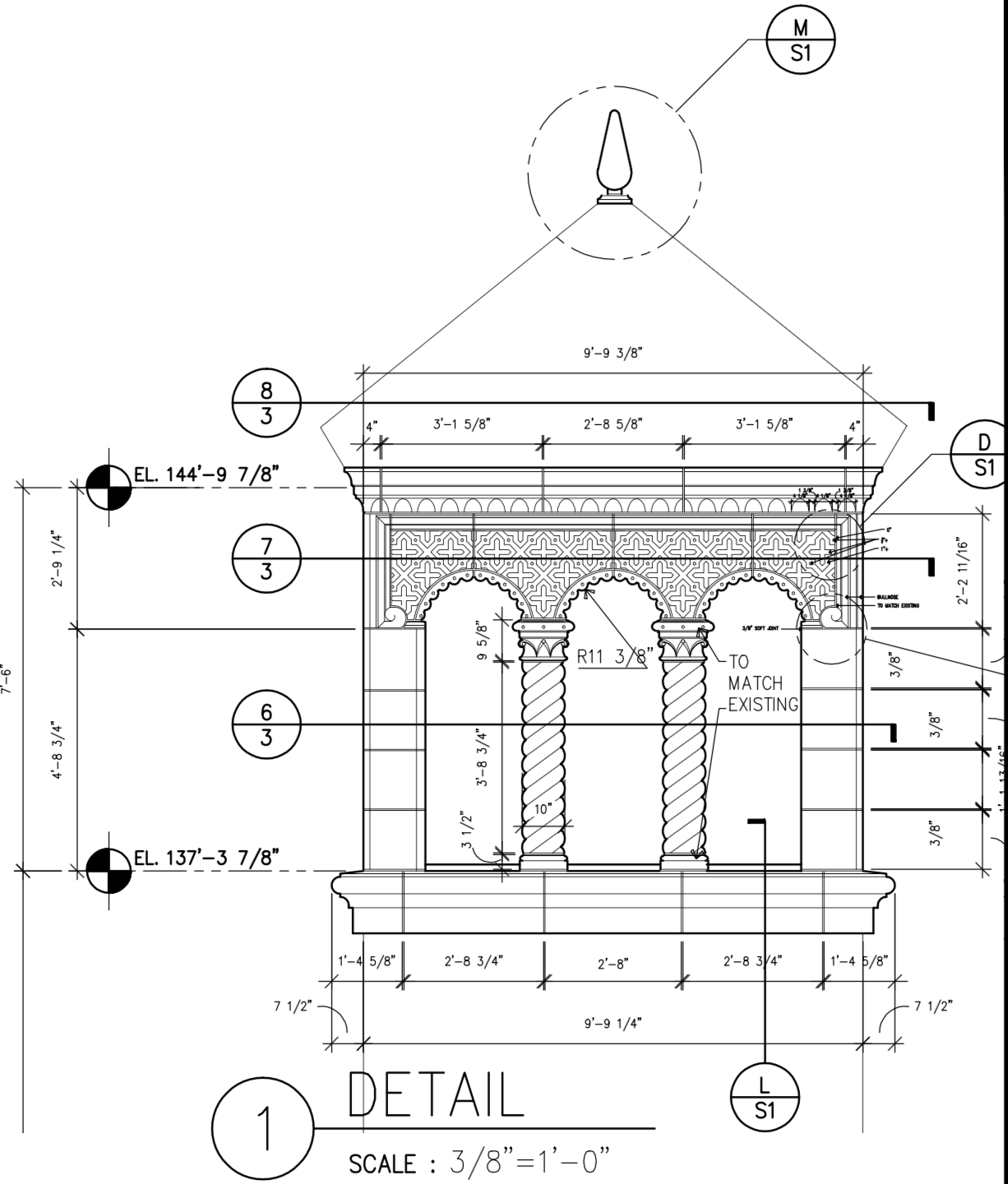 Design Details for the top of the clock tower at highland park village shopping center