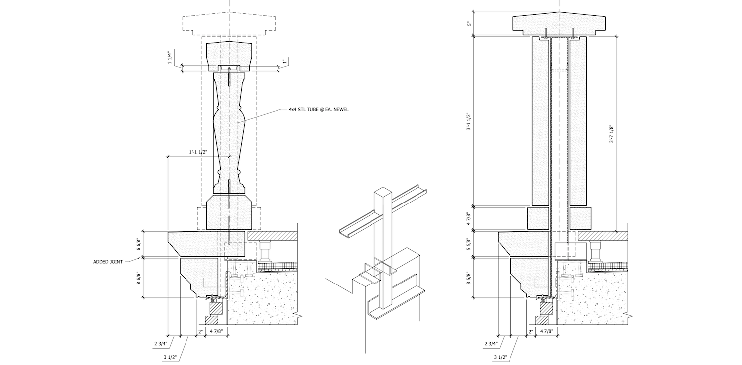 Balustrade System Design with Integrated Structural Tubing for Structural Support