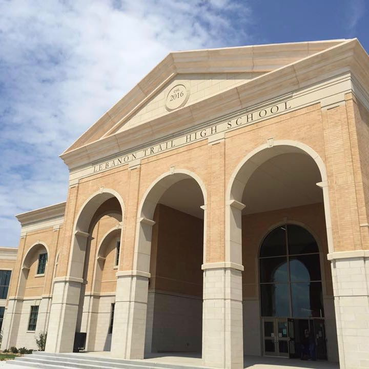 Lebanon Trail High School - Large Deep Archways with Suspended Soffit, Large Size Cornices, Stone Signage, Interior Columns for Design Accent