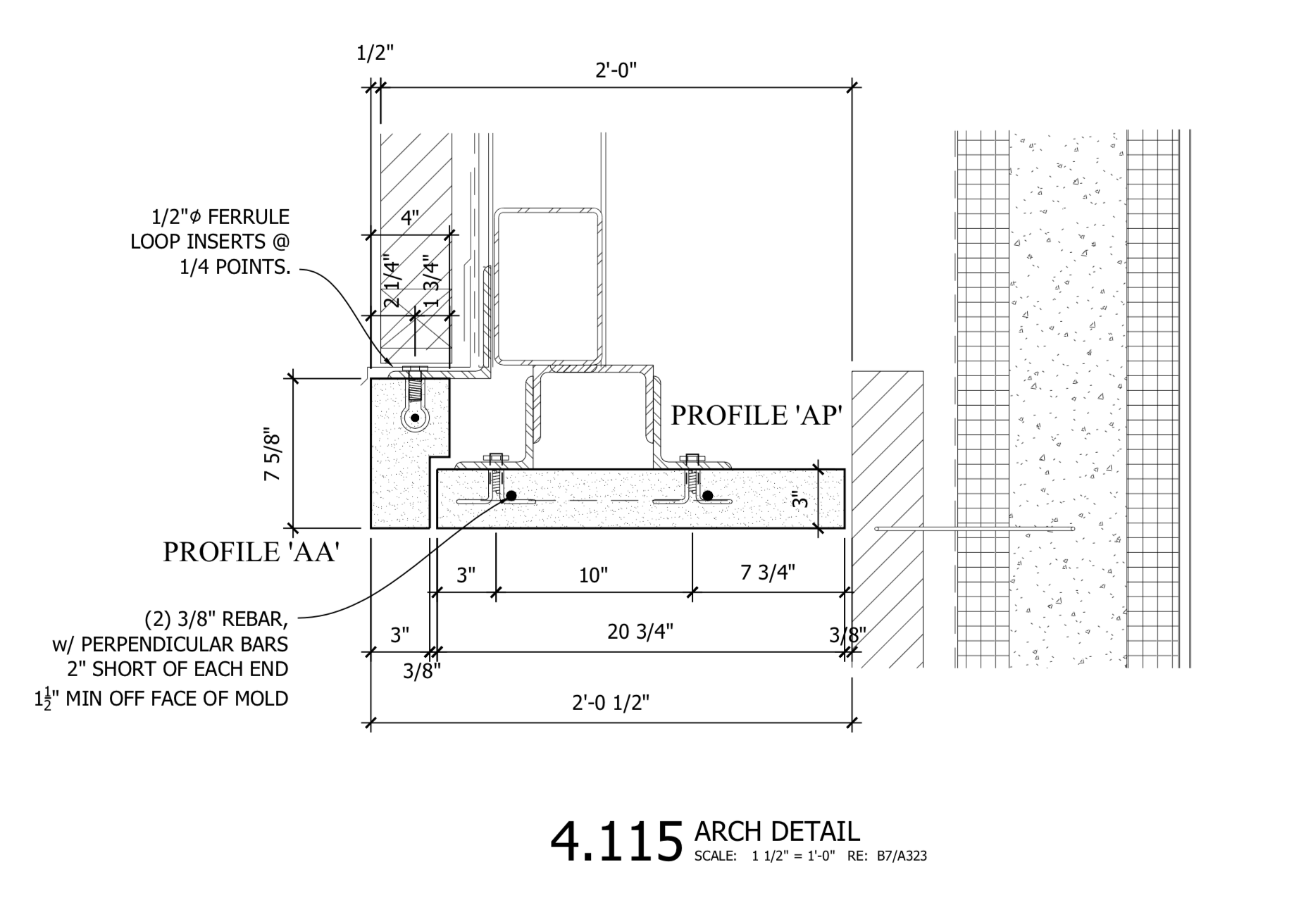 Section 4.115 - Connection Details for Suspended Soffit of Archway