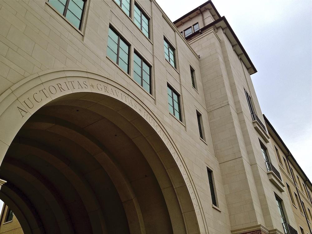 Texas State University - Manufactured Stone Cladding, Facade Veneer, Stone Signage