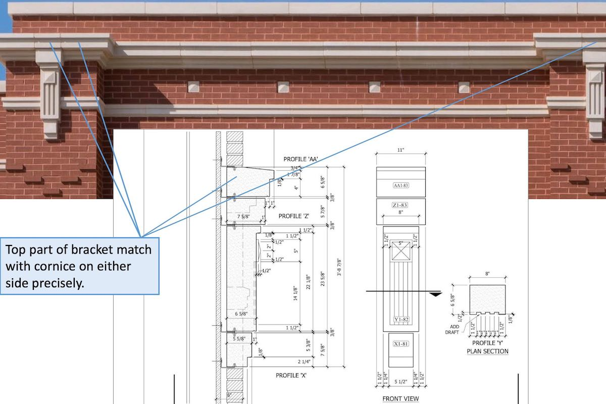 Close up view of bracket along with CAD Drawing section - top part of bracket precisely aligned with profile of cornice pieces on either side