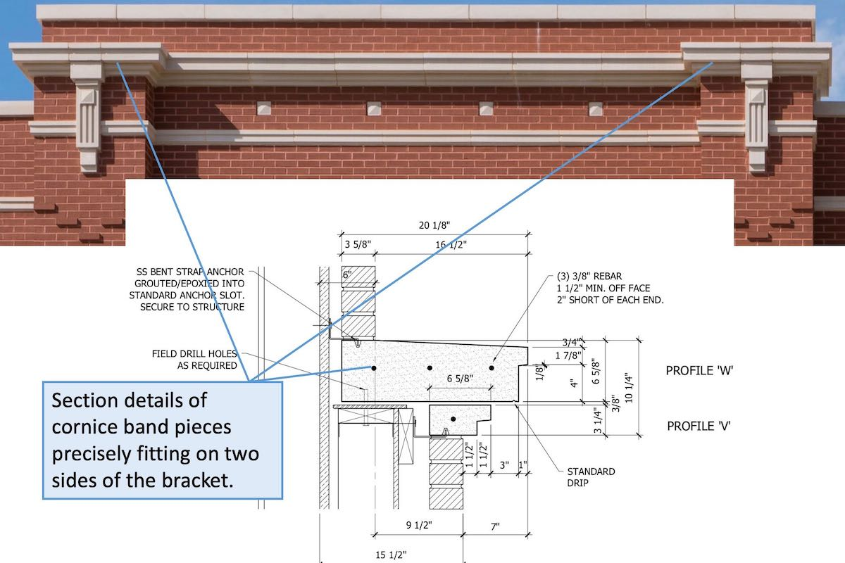 Cornice Section showed along with CAD Drawing Section Details