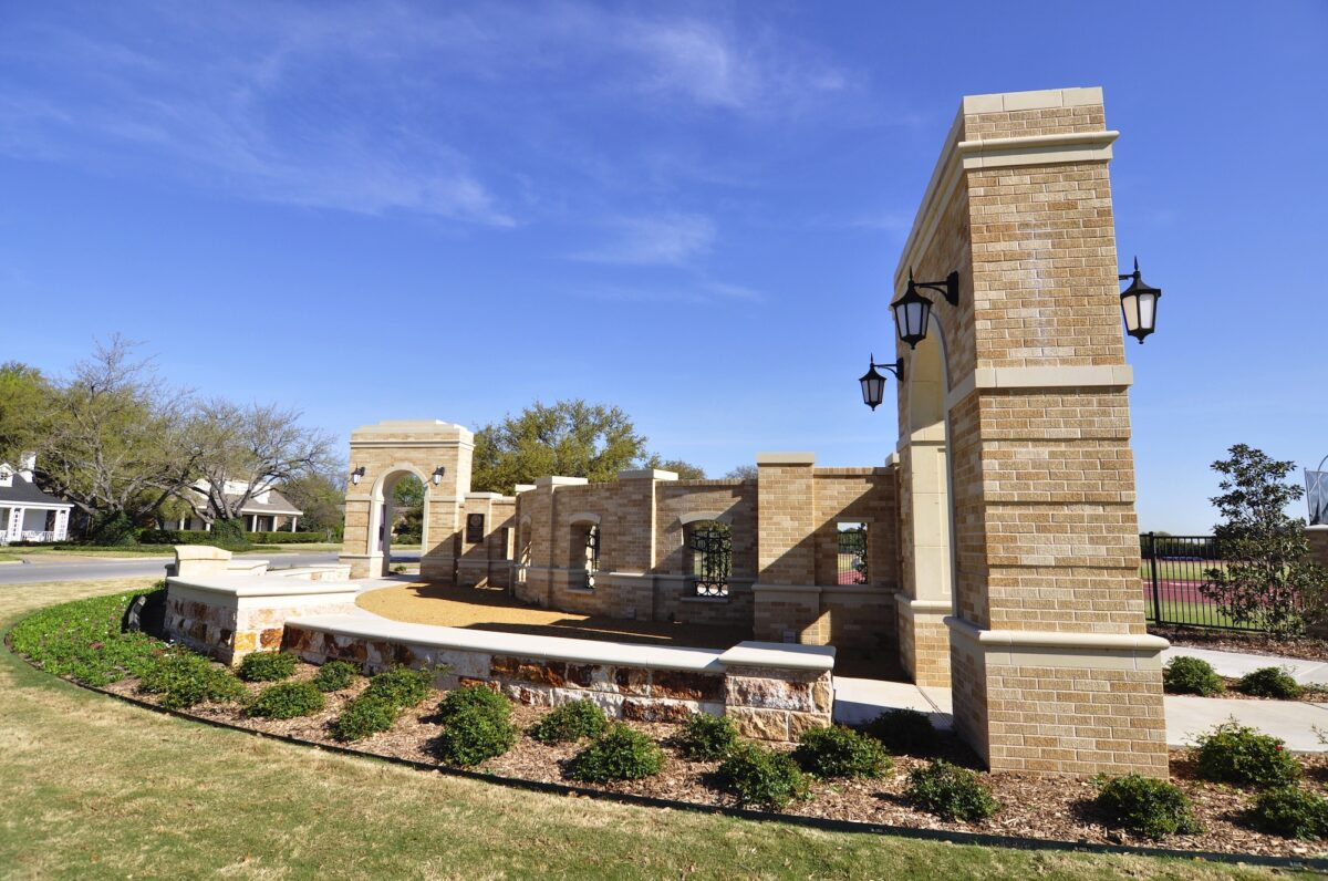 Planters, Coping, Hardscape Design using Matching Custom Color and Finish of Stone Panels