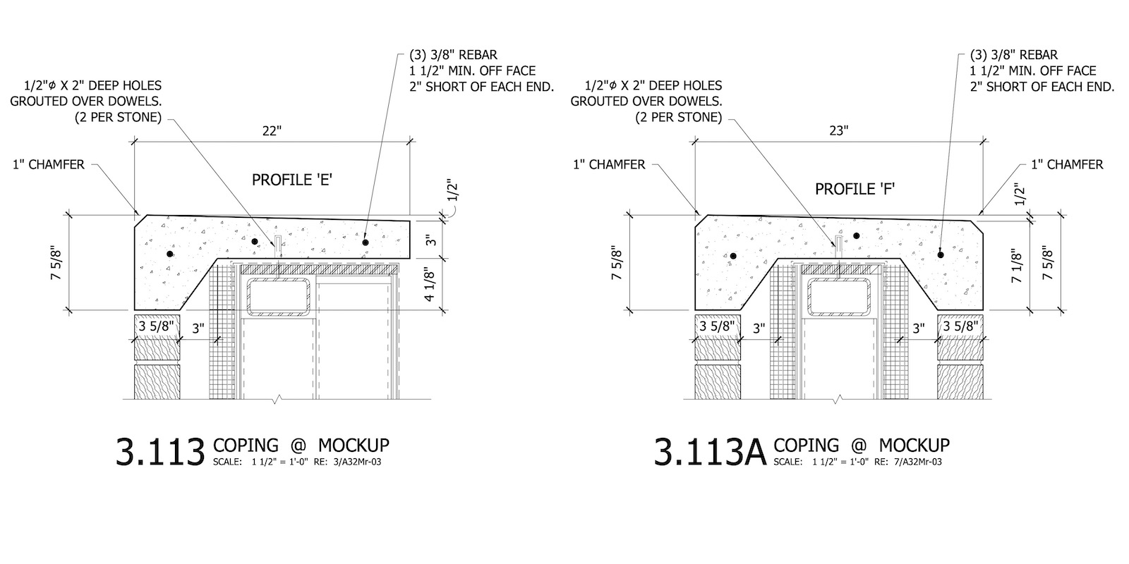 CAD Drawings Details for Different Coping Profiles