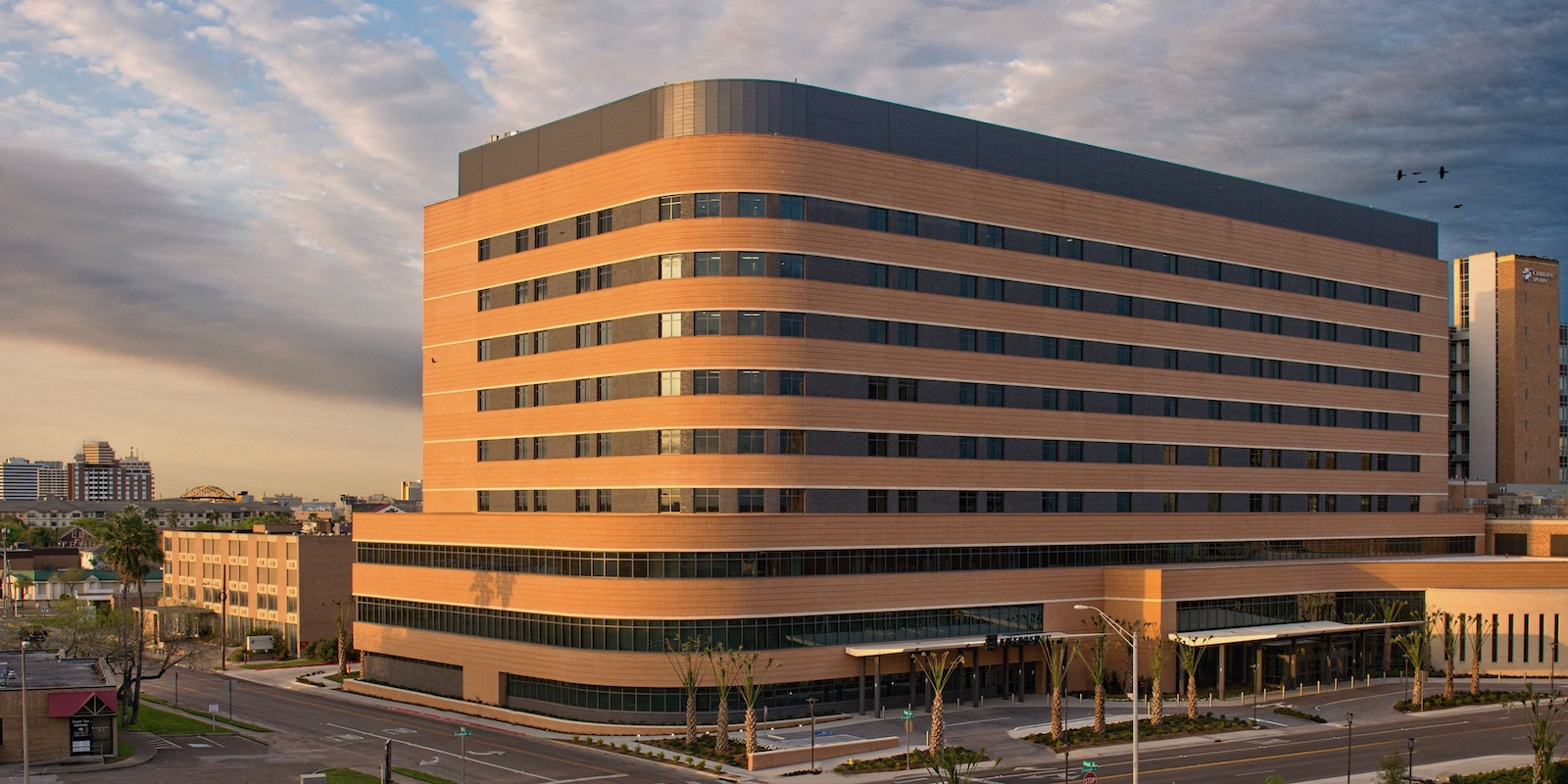 Christus Spohn Shoreline Hospital - More than 12,000 Feet of Linear Banding on the Building Exterior