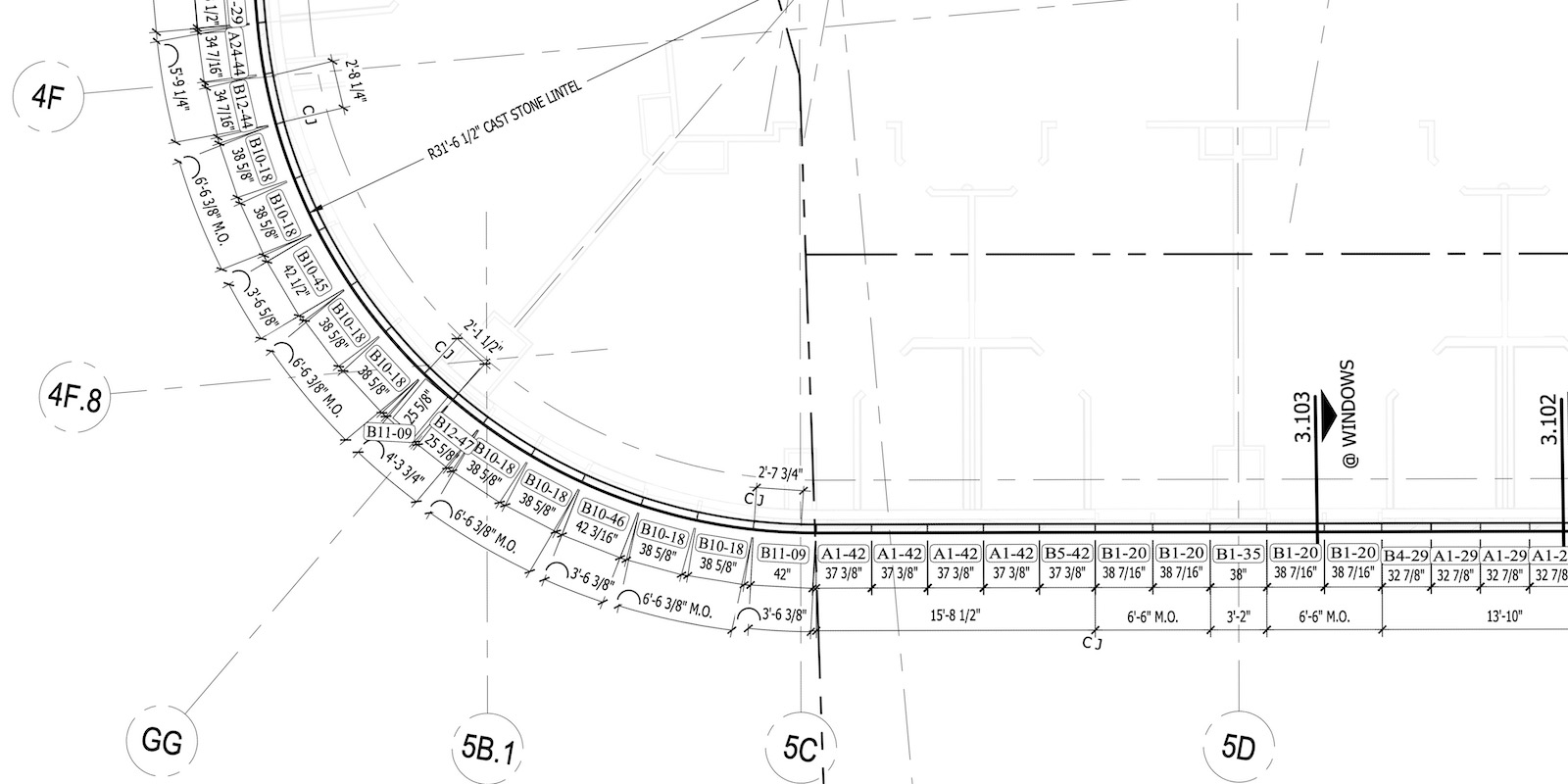 Settings Plan Section - Cast Stone Fitting Together for Curved Band on the Building Exterior