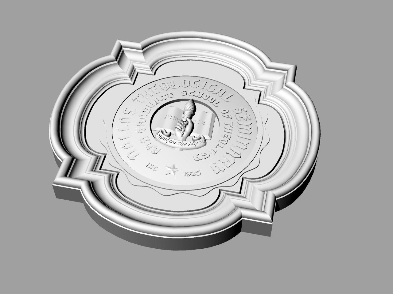 3D Model of the Medallion used as Exterior Organization Seal for the Dallas Theological Seminary and Graduate School of Theology