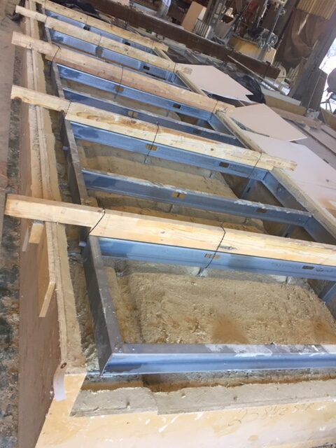 GFRC panel being Cast with Steel Frame Attachments