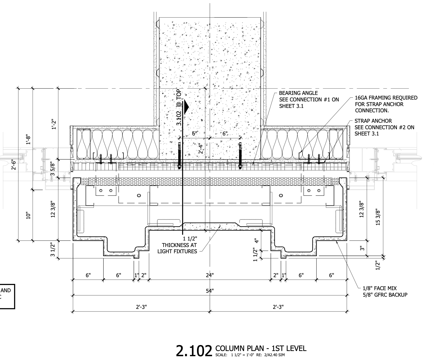 Marriott Hotel CAD Drawing - Section 2_105 - column plan - 1st level