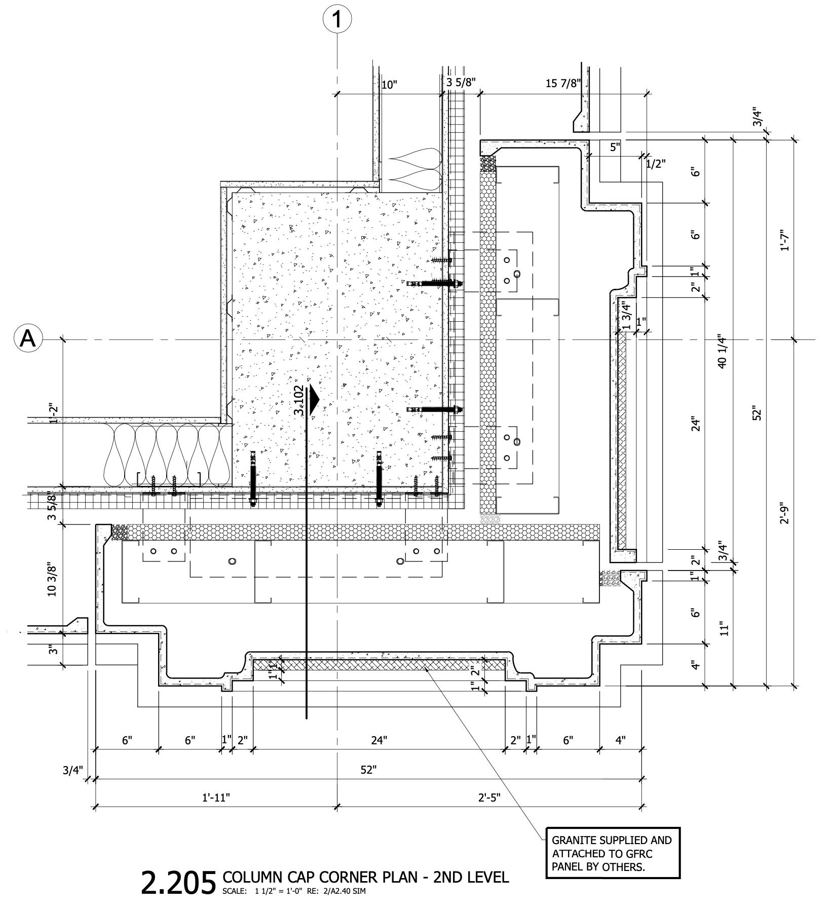 Marriott Hotel CAD Drawing - Section 2_205 - column cap corner plan - 2nd level