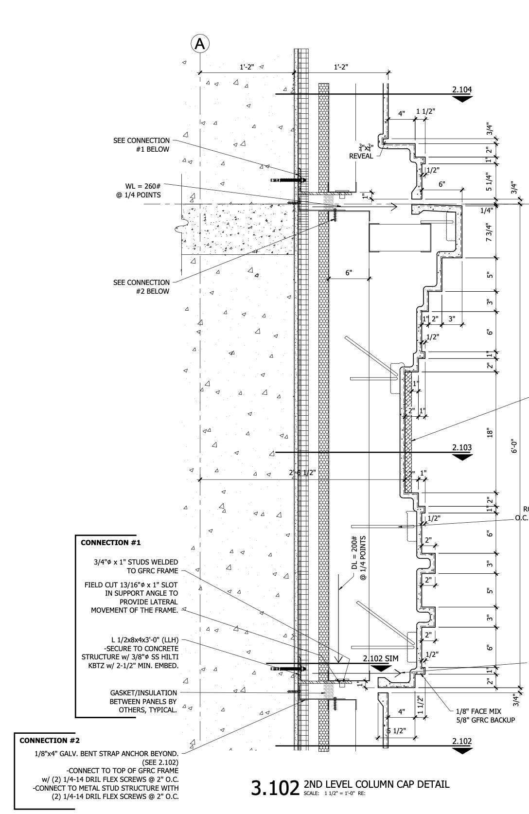 Marriott Hotel CAD Drawing - Section 3_103 - second level column detail