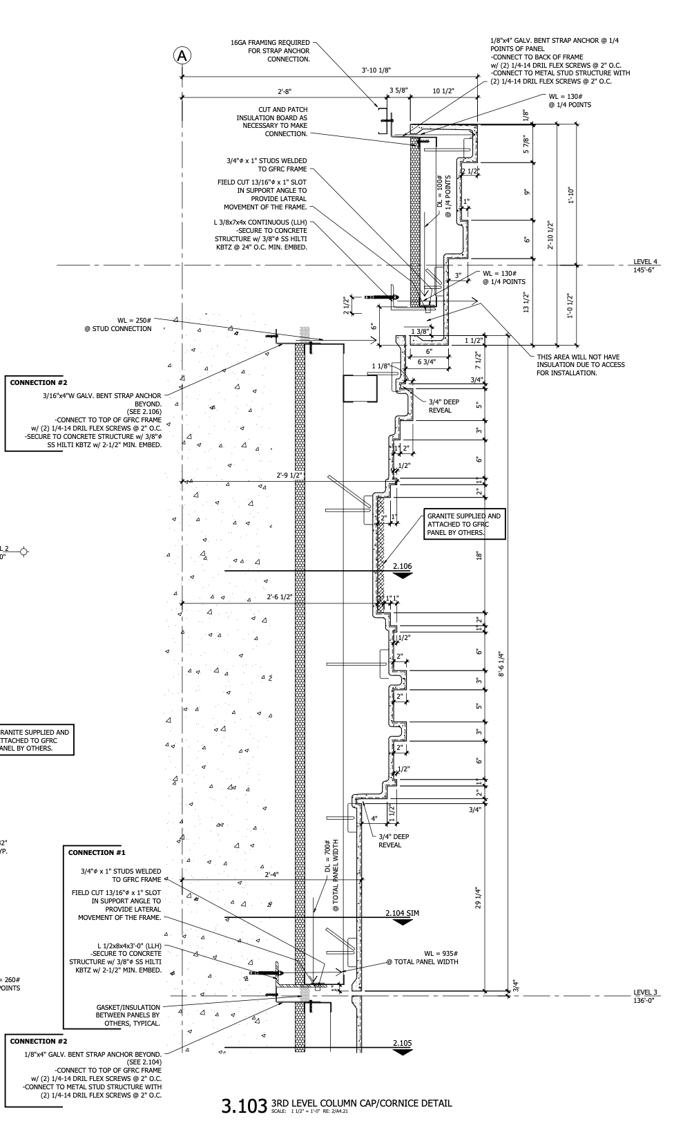 Marriott Hotel CAD Drawing - Section 3_103 - third level column cap and cornice detail