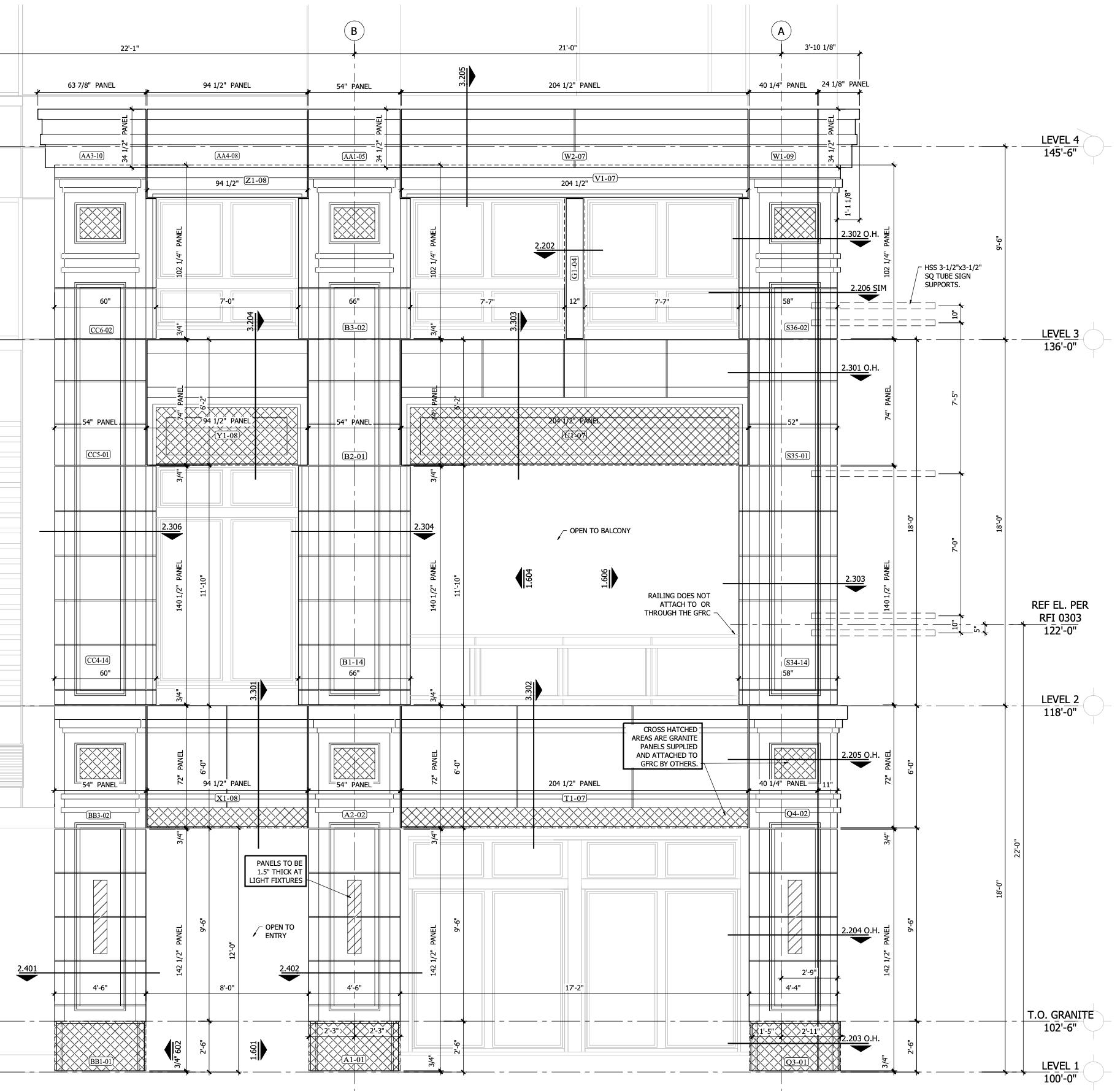 Marriott Hotel CAD Drawing - Settings Plan - East Side Elevation